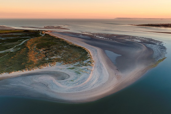 Aerial image of West Sussex coast at sunset