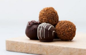a stack of chocolate truffles